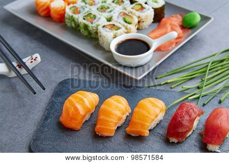 Sushi Maki and Niguiri California roll soy sauce and wasabi
