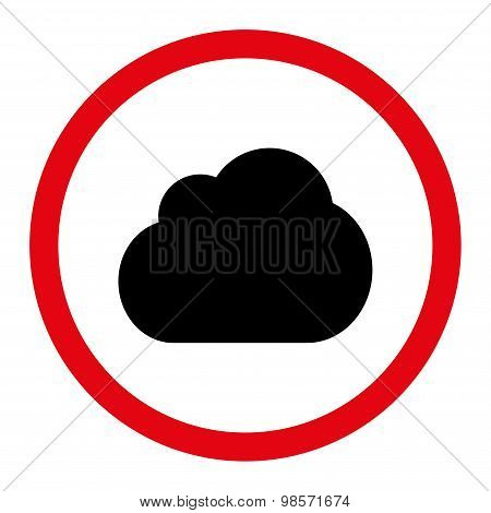 Cloud flat intensive red and black colors rounded vector icon