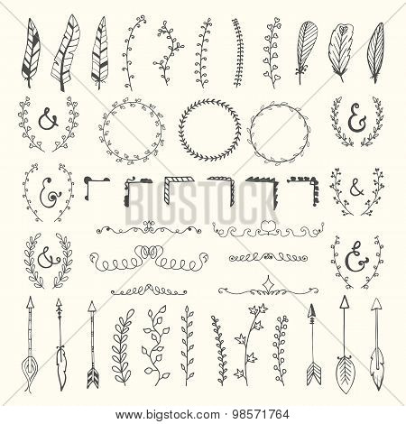 Hand Drawn Vintage Floral Elements. Weddings, Valentines Day, Birthday, Design Templates, Invitation