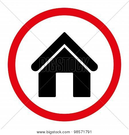 Home flat intensive red and black colors rounded vector icon