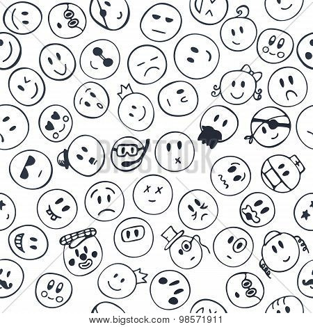 Seamless Pattern With Cheerful And Happy Faces. Sketch Emotions Faces
