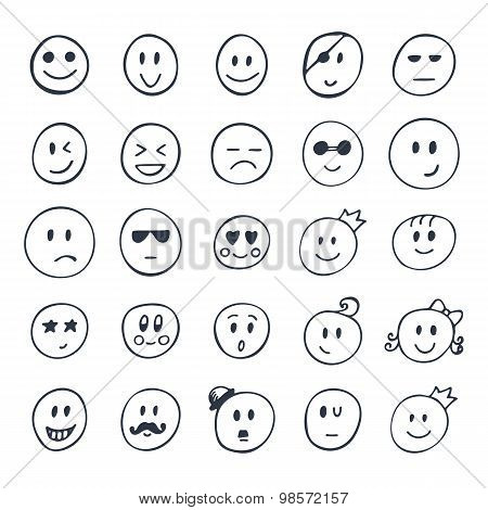Set Of Hand Drawn Funny Faces With Different Expressions