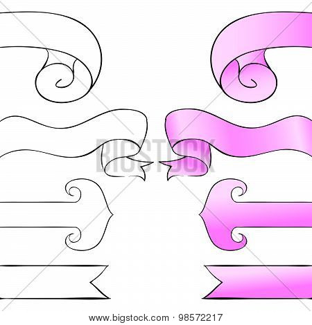 Bookmark Set. Pink Ribbons On A White Background