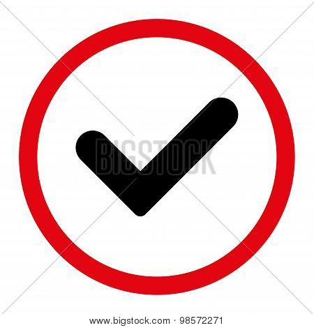 Yes flat intensive red and black colors rounded vector icon