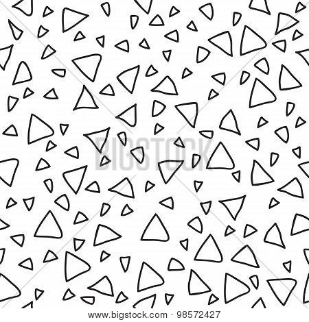 Triangle Geometric Seamless Pattern. Hand Drawn Design Elements. Tribal Hand Drawn Background