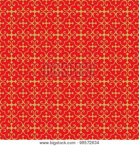 Golden seamless Chinese window tracery cross pattern background.