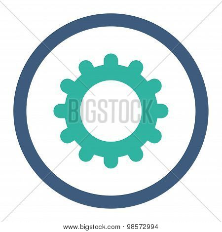 Gear flat cobalt and cyan colors rounded vector icon