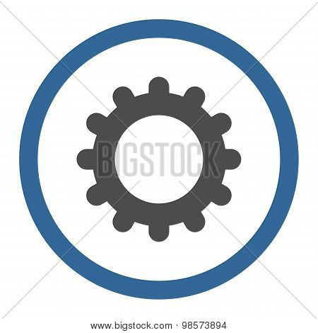 Gear flat cobalt and gray colors rounded vector icon