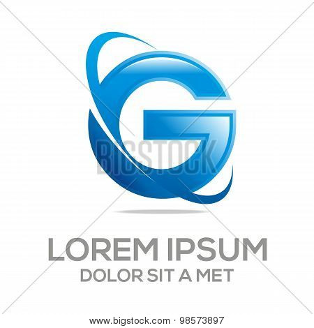 Logo letter g design element eco leaves vector