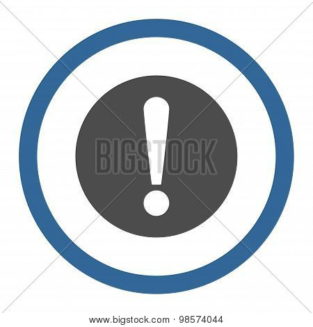 Problem flat cobalt and gray colors rounded vector icon