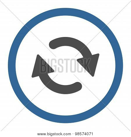 Refresh flat cobalt and gray colors rounded vector icon