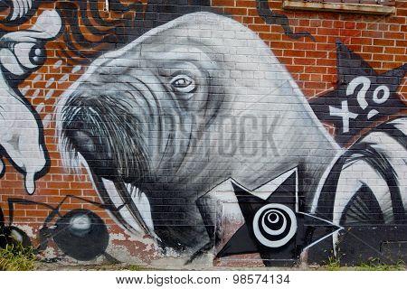 Street art walrus