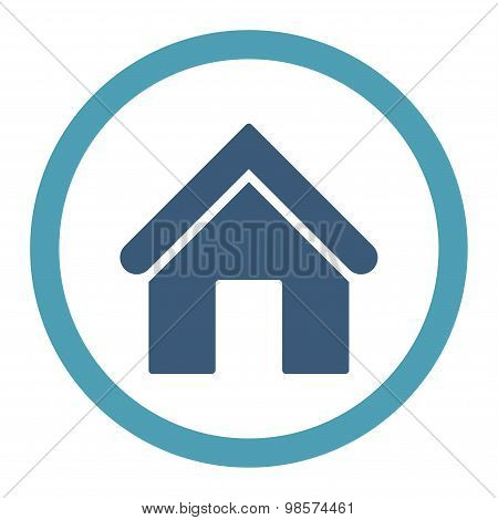 Home flat cyan and blue colors rounded vector icon
