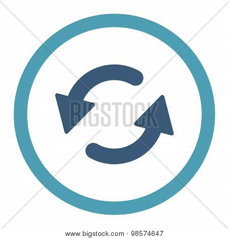 Refresh Ccw flat cyan and blue colors rounded vector icon