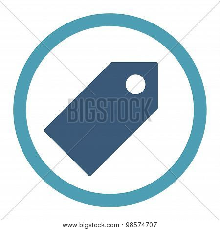 Tag flat cyan and blue colors rounded vector icon