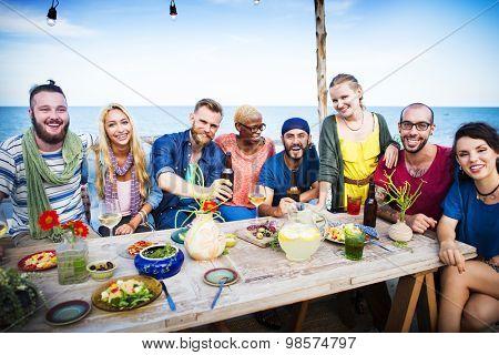 Diverse Beach Summer Party Roof Top Fun Concept