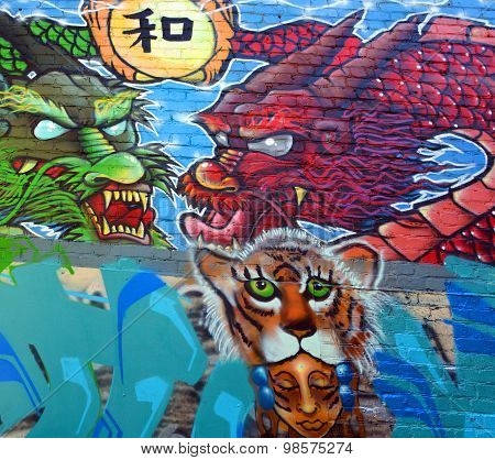 Mural dragons in San Francisco