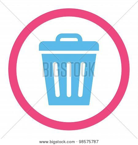Trash Can flat pink and blue colors rounded vector icon