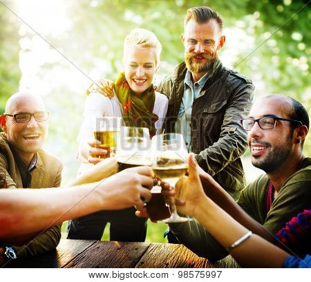 Friends Party Outdoors Celebration Happiness Concept
