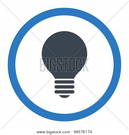 Electric Bulb flat smooth blue colors rounded vector icon