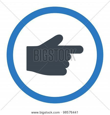 Index Finger flat smooth blue colors rounded vector icon