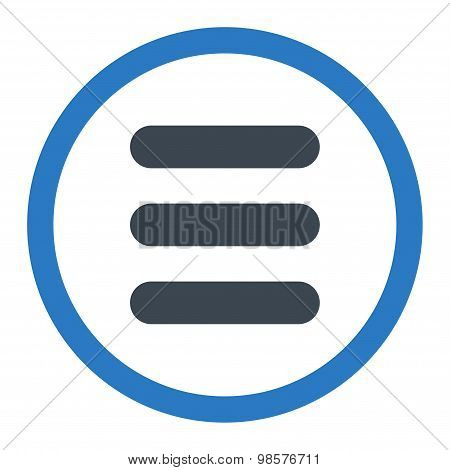 Stack flat smooth blue colors rounded vector icon