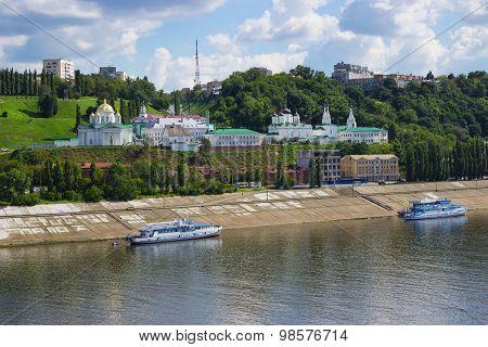 Church On The Banks Of The Oka River. Nizhny Novgorod. Russia