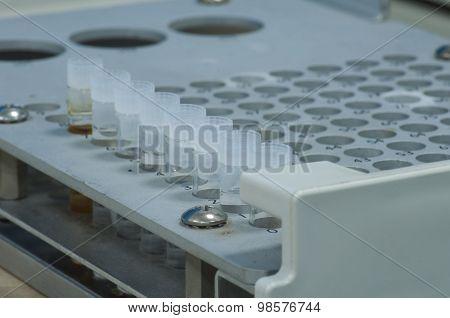 Sample Vial In Aluminum Rack