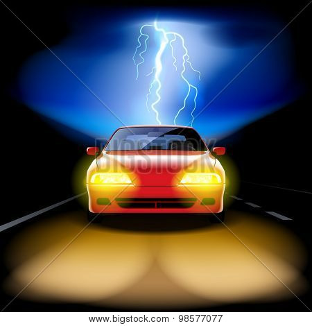 Red car racing on the road at night with a lightning on the background. Vector illustration
