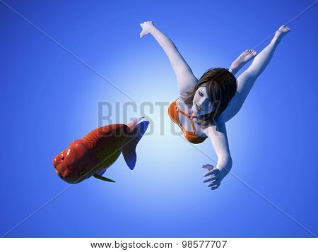 The girl dives for fish on a blue background.