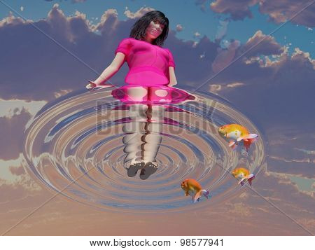 The girl is standing on water