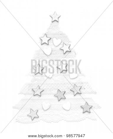 Xmas tree made of lace isolated on the white