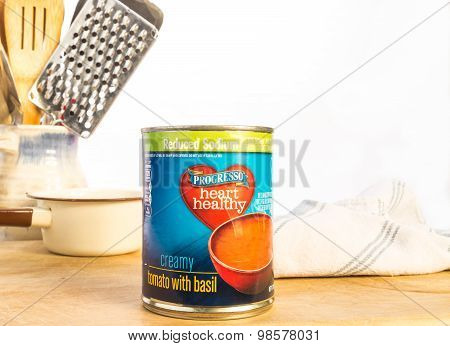 Heating Can Of Tomato Soup
