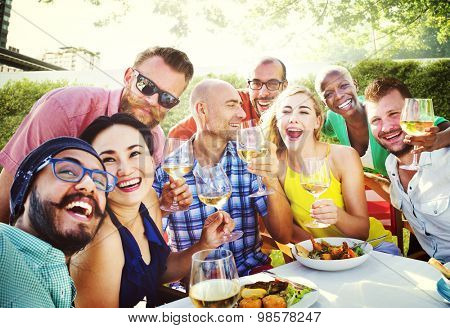 Friends Dining Outdoors Party Cheerful Concept