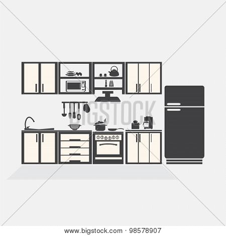 Kitchen Interior Concept, Kitchen Symbol Vector Illustration
