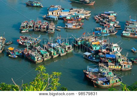 Boats on the sea from high view in Halong bay, Vietnam.