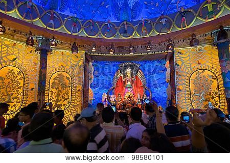 Kolkata , India - October 3, 2014 : Durga Puja Festival, Decorated Pandal