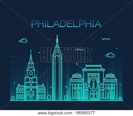 Philadelphia skyline trendy vector linear style