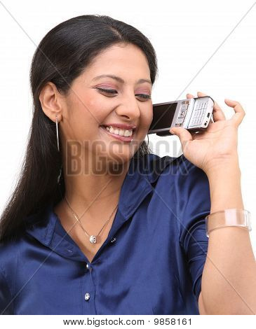Laughing girl with the cell phone