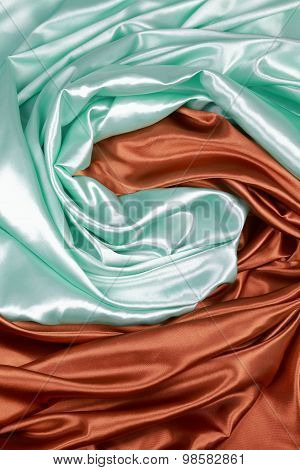 Brown And Light Green Silk Cloth Of Wavy Abstract Backgrounds