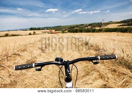 Riding a bicycle in the fields.