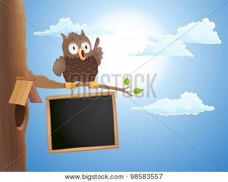 Cartoon Cute Owl Sitting On Branch And A Chalkboard. Vector Illustration