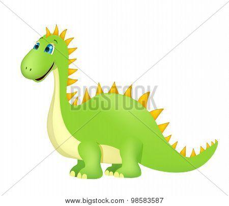 Cute Cartoon Dinosaur On White. Vector
