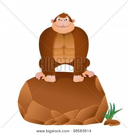 Cartoon Gorilla Sitting On A Stone. Vector Background