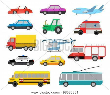 Set Of Cartoon Cute Cars And Vehicles. Vector Illustration