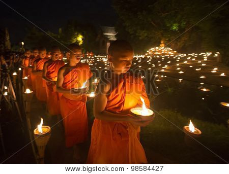 A Monk, Asalha Puja Day - July 30 : Asalha Puja Day, Buddhist Monk Walk With Lighted Candles In Hand