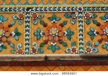Old Ceramic Tiles Patterns At Temple Of The Emerald Buddha Or W