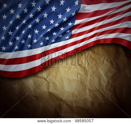 Closeup of American flag on paper background
