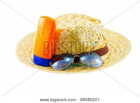 Summer Concept : Beach Items - Hat With Sunglasses And Body Lotion