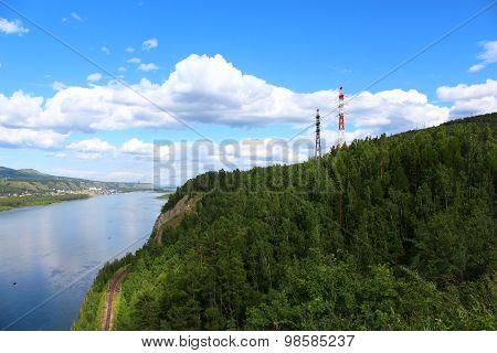 Power transmission lines across the Yenisei